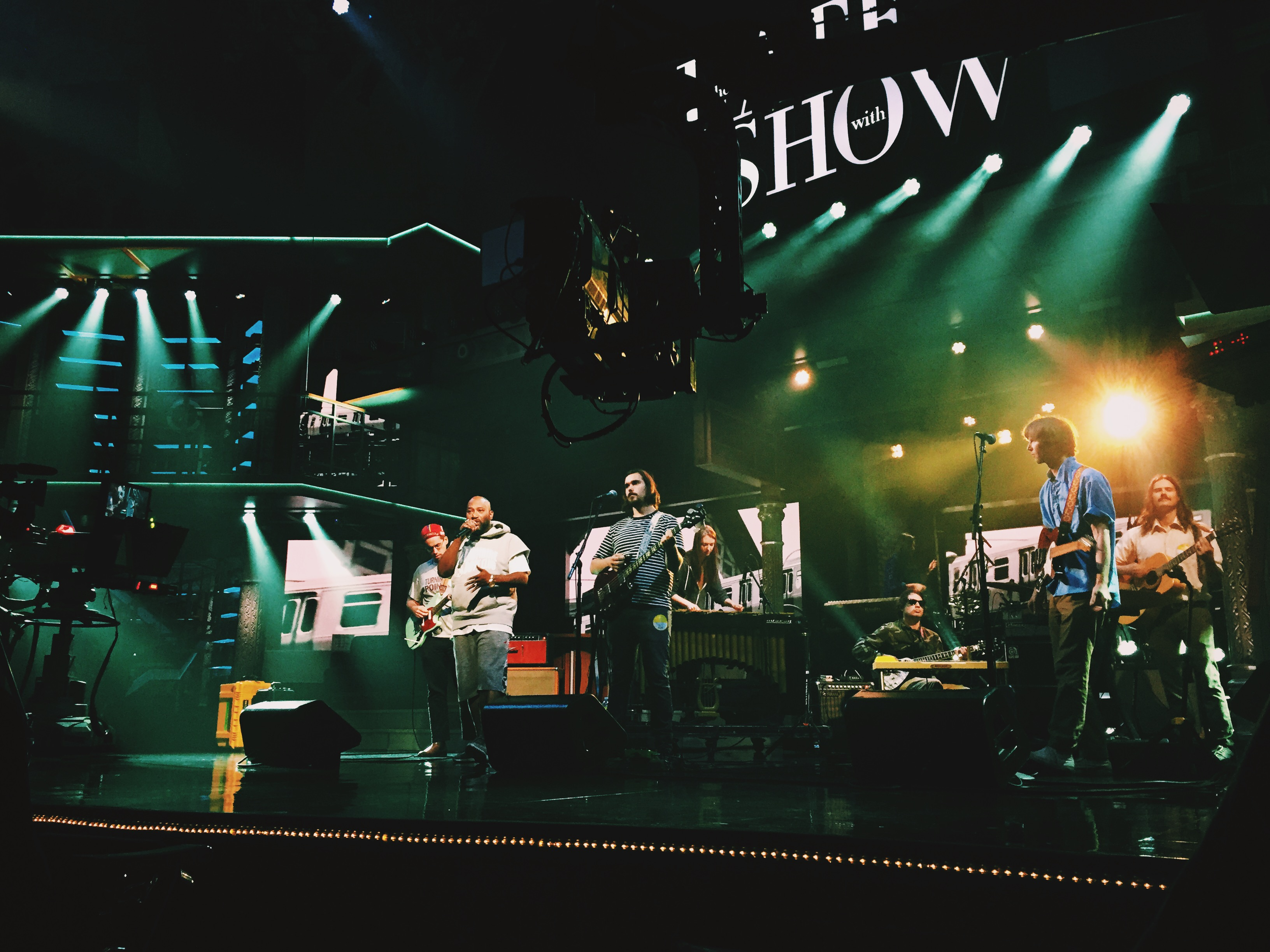 Parquet Courts Bun B rehearse for 'The Late Show With Stephen Colbert.'